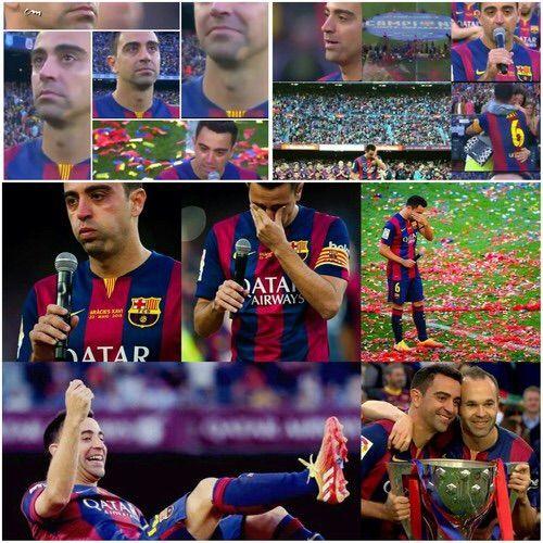 Imagine prin We Heart It #Barcelona #cry #farewell #goodbye #liga #sad #xavi #champions