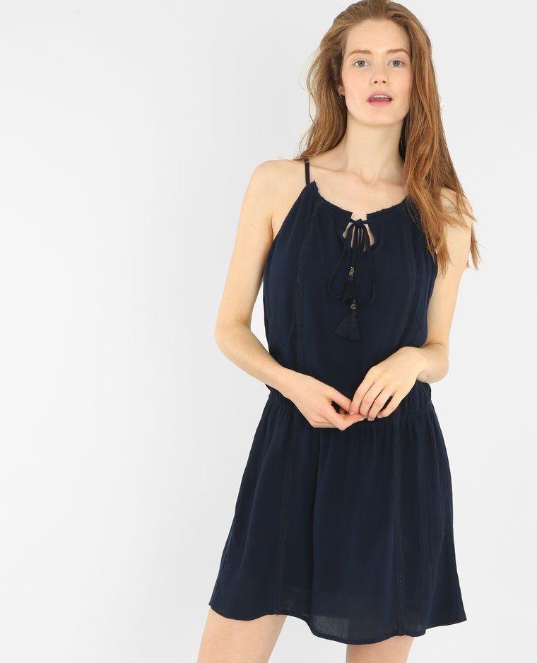 afcd4aa908257 Robe crépon bleu foncé   Mode femme   Pinterest   Crepon, Bleu foncé ...