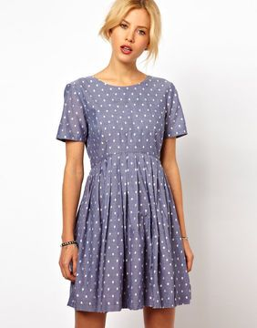 Get the look of Kate Middleton's polka-dot dress with this ASOS Skater Dress With Embroidered Spot In Chambray!
