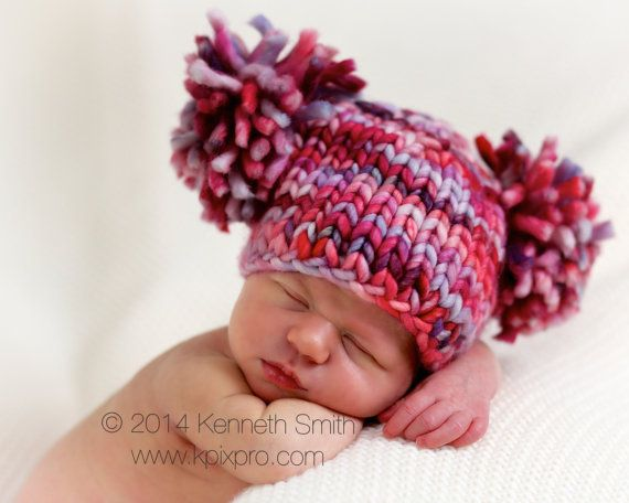 Chunky knitted pompom hat pattern by PhotoPropsnMore on Etsy, $2.50