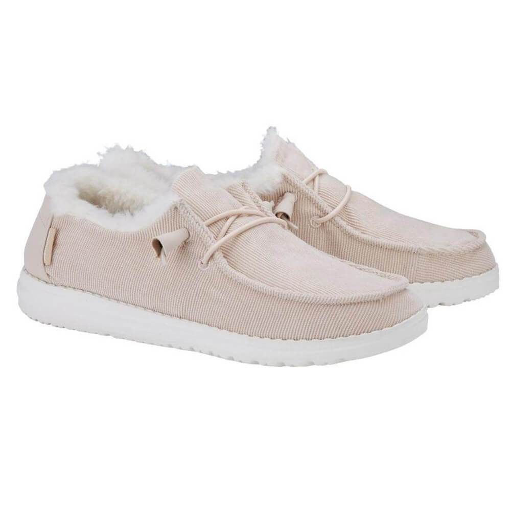 Hey Dude Shoes Women's Wendy Corduroy Shoe in Cream is part of Trending womens shoes, Women shoes, Casual shoes women, Trending shoes, Womens fashion shoes, Ladies shoes designer - Comfortable footwear is always on trend and these Hey Dude Shoes Women's Wendy Corduroy Shoes in Cream are the perfect pair  Featuring faux fur lining and a light pink hue, these Hey Dude Shoes do not disappoint  Add them to your cart today!Check out more Women's Hey Dude Shoes here!Features of Hey Dude Shoes Women's Wendy Corduroy Shoe in Cream 121410117Hey Dude ShoesStyle 121410117Color CreamShoes for women100% CottonCorduroy cotton uppersFaux fur liningRemovable, memory foam insoleLightweight soleSlip on sneakersBreathableFlex & Fold technologyMachine washable cold on delicate settingImportedIf you usually wear half sizes, Hey Dude suggests choosing the next size up for best fit