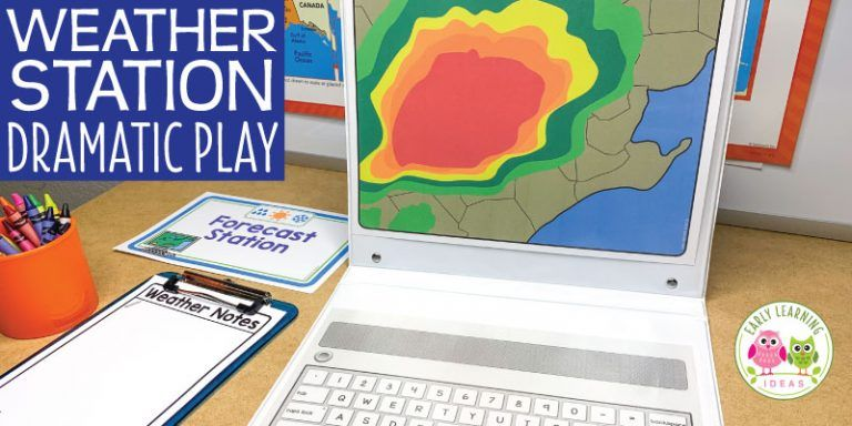How to Set up a Weather Station Dramatic Play Area in 2020 | Dramatic play. Dramatic play area. Space activities for kids