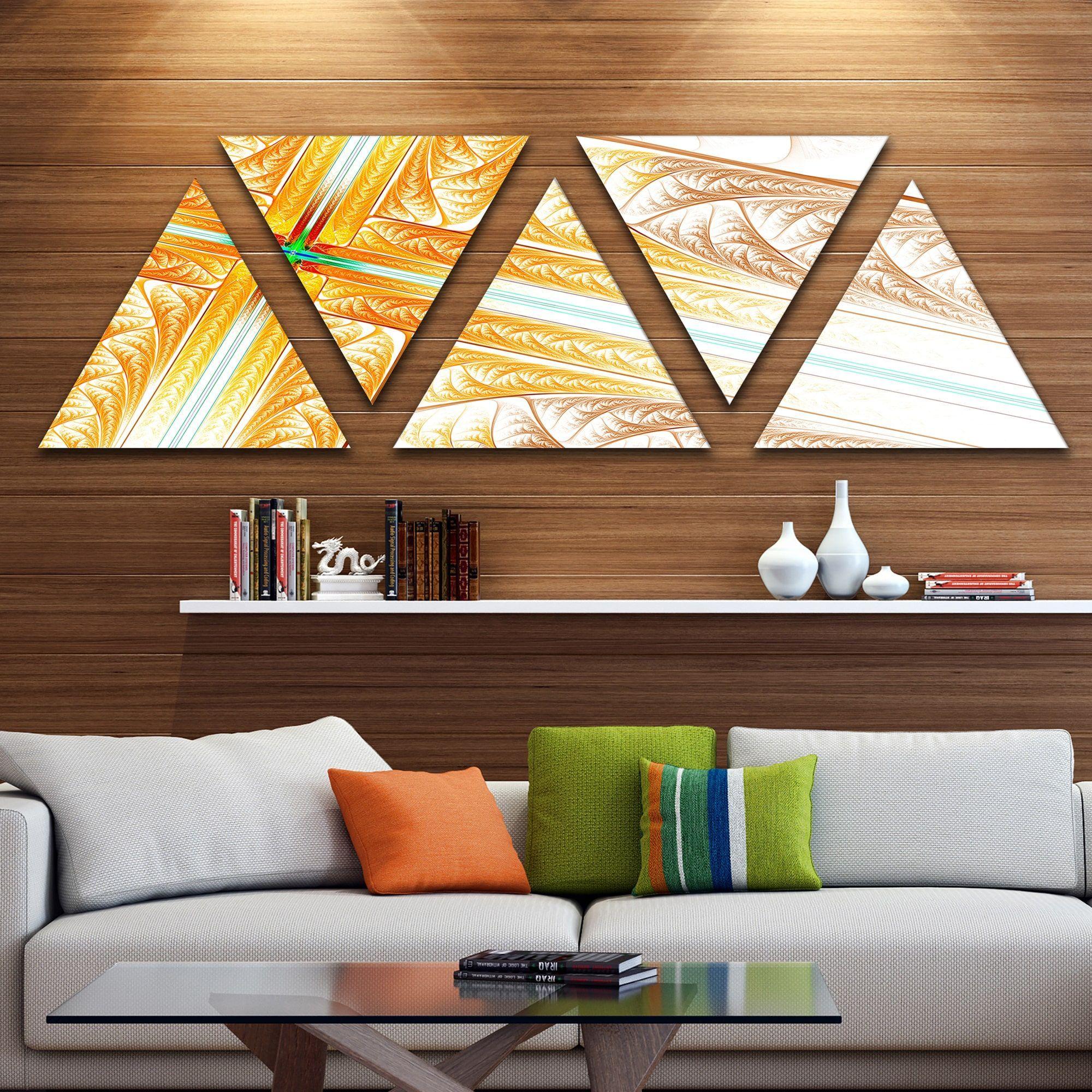 Designart 'Brown Fractal Cross Design' Contemporary Art on Triangle Canvas - 5 Panels