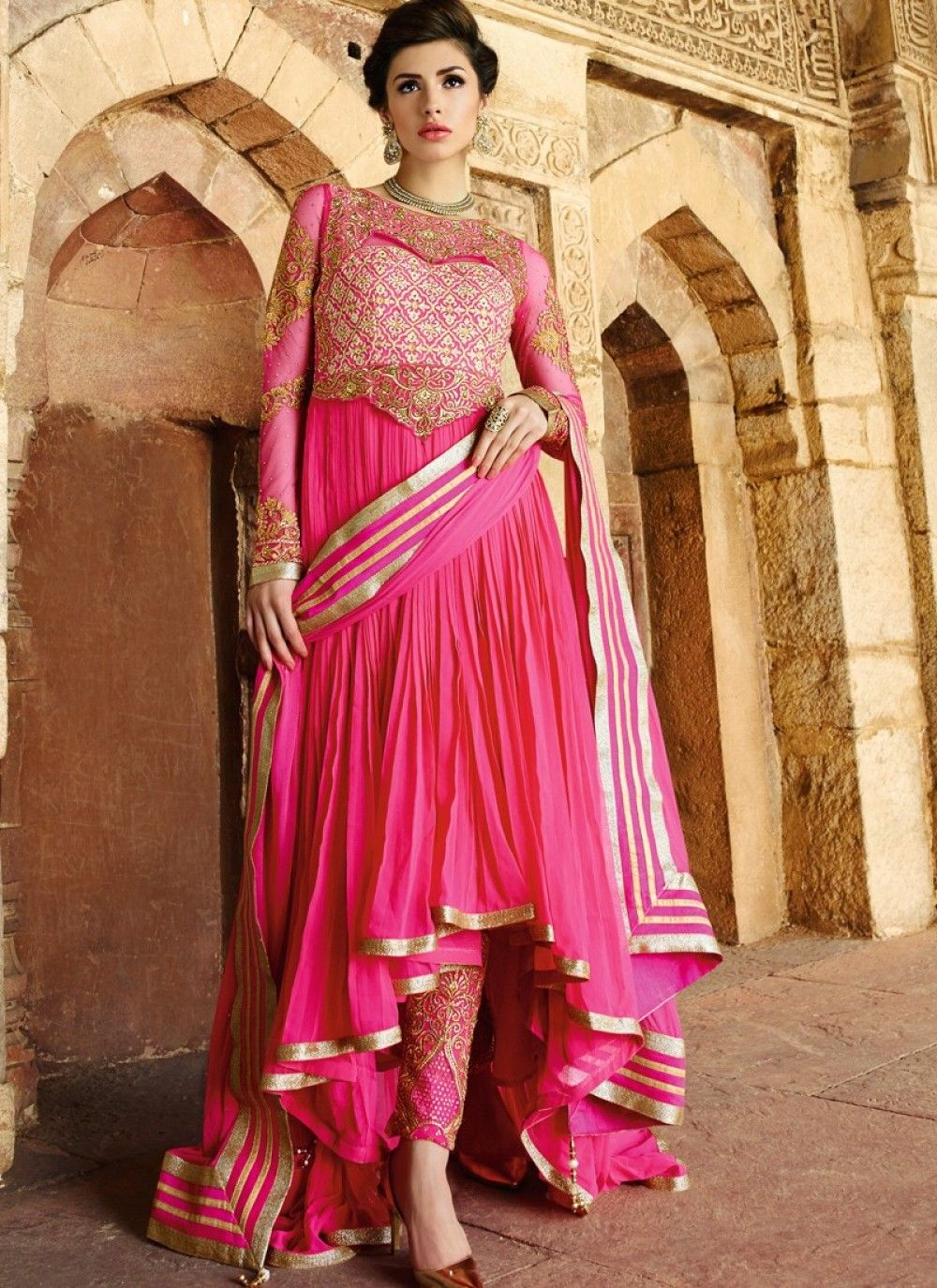 Stunning Pink and Gold Flared High & Low Anarkali Suit - shopneez.com