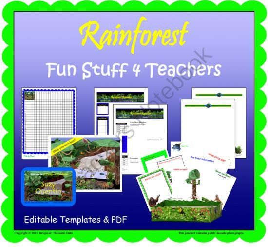 Rainforest Rendezvous--Fun Stuff 4 Teachers from ThematicTeacher on TeachersNotebook.com -  (12 pages)  - Use these colorful support materials to top off your rainforest (jungle) theme.  Microsoft (R) Word docs (Templates) may be personalized on your computer.  PDF files may be printed and personalized by hand.