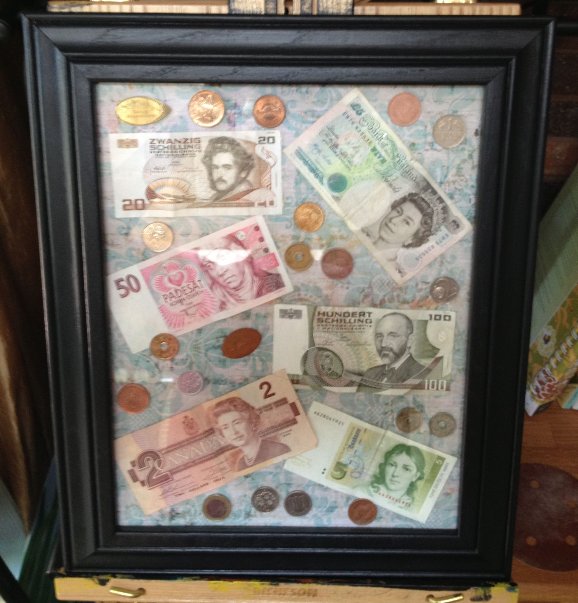 Getting Crafty with all the random foreign money we had around the ...