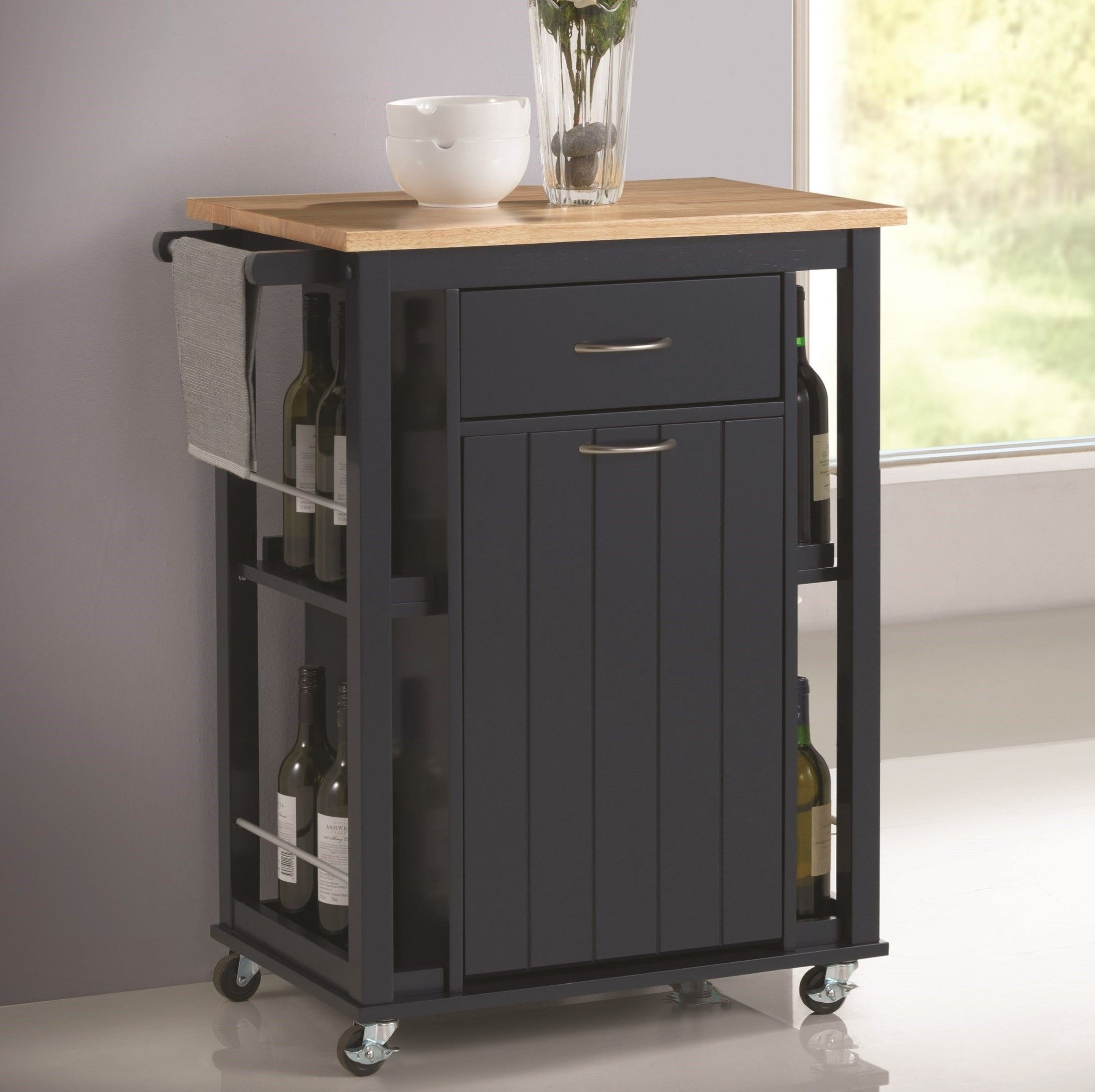 Coaster 102664 Navy Blue Kitchen Cart With Natural Wooden Top