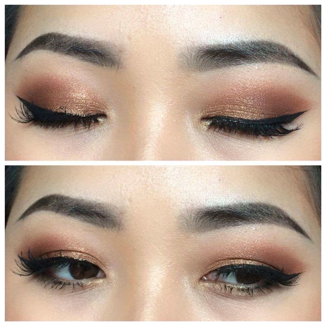 Makeup for Asian eyes. Soft copper eyes Asian eye makeup