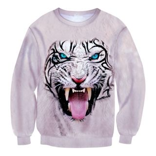Cool 3D tiger printed long sleeve pullover sweatshirt for