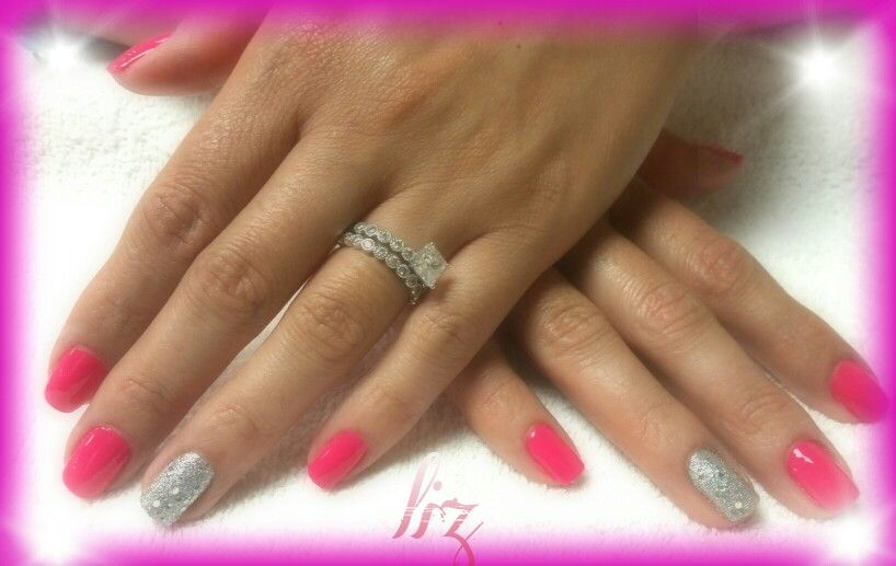 Hot Pink Natural Nails With A Silver Accent Nail Natural Nails Nails Accent Nails