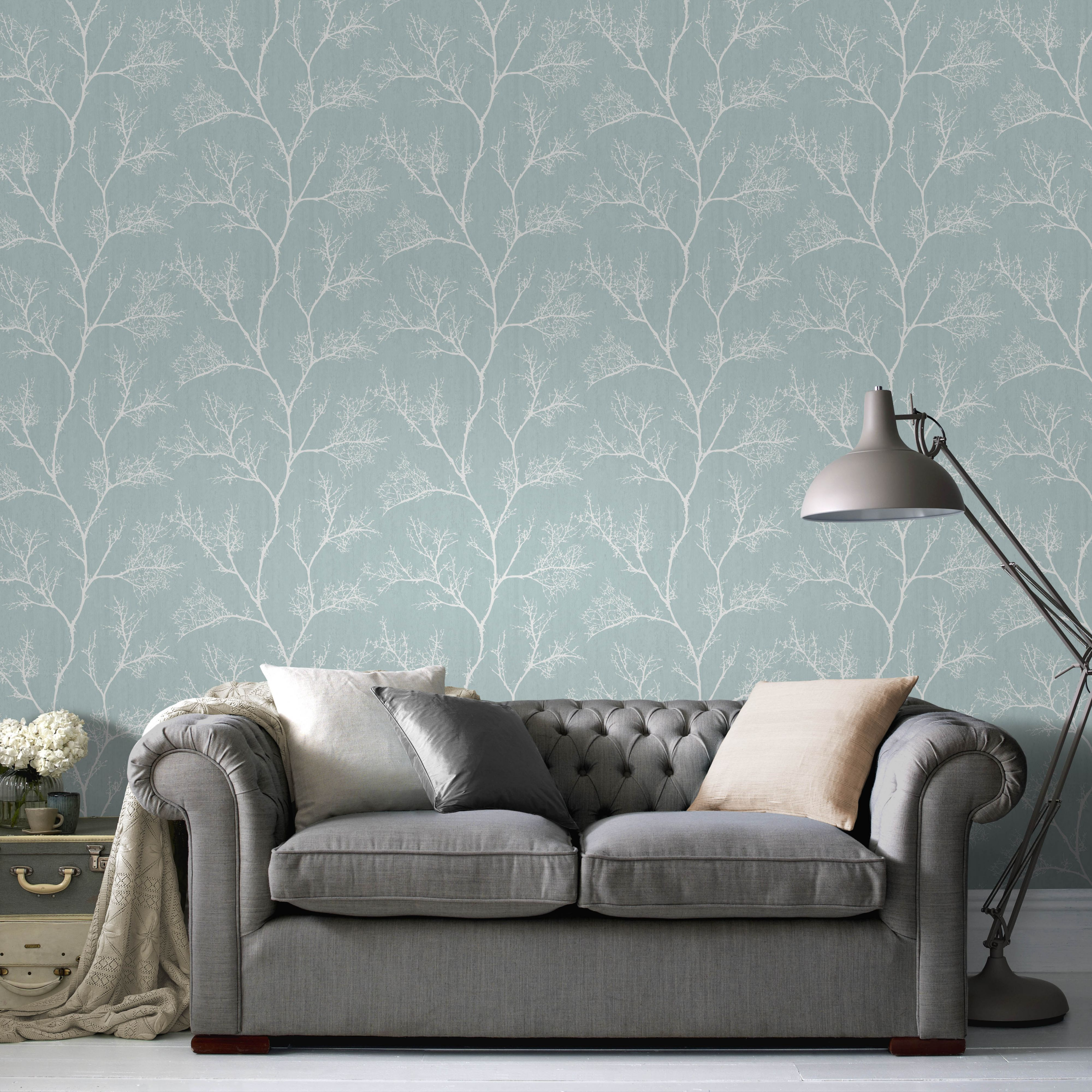 Duck Egg Icy Trees Glitter Effect Wallpaper Departments Di