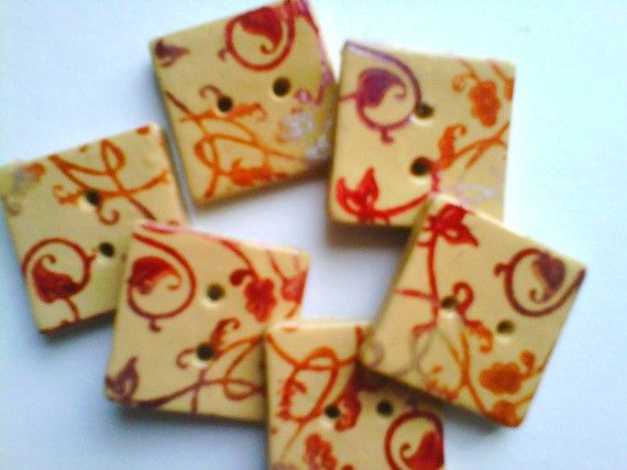 Button Nature ink stamped square handmade polymer clay button set  ( 6 )