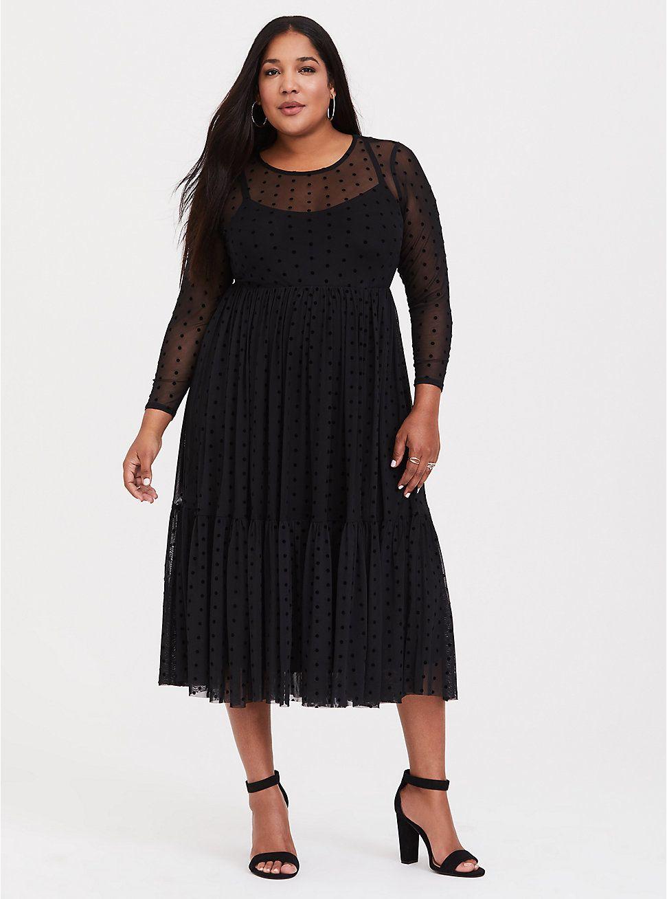 cb9d66f998d60 Plus Size Black Dot Mesh Midi Dress