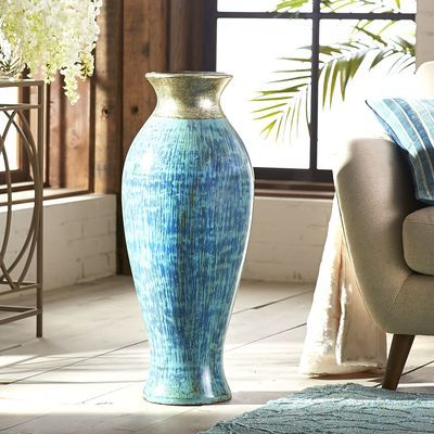 Metallic Floor Vase Blue Floor Vase Vase Tall Floor Vases
