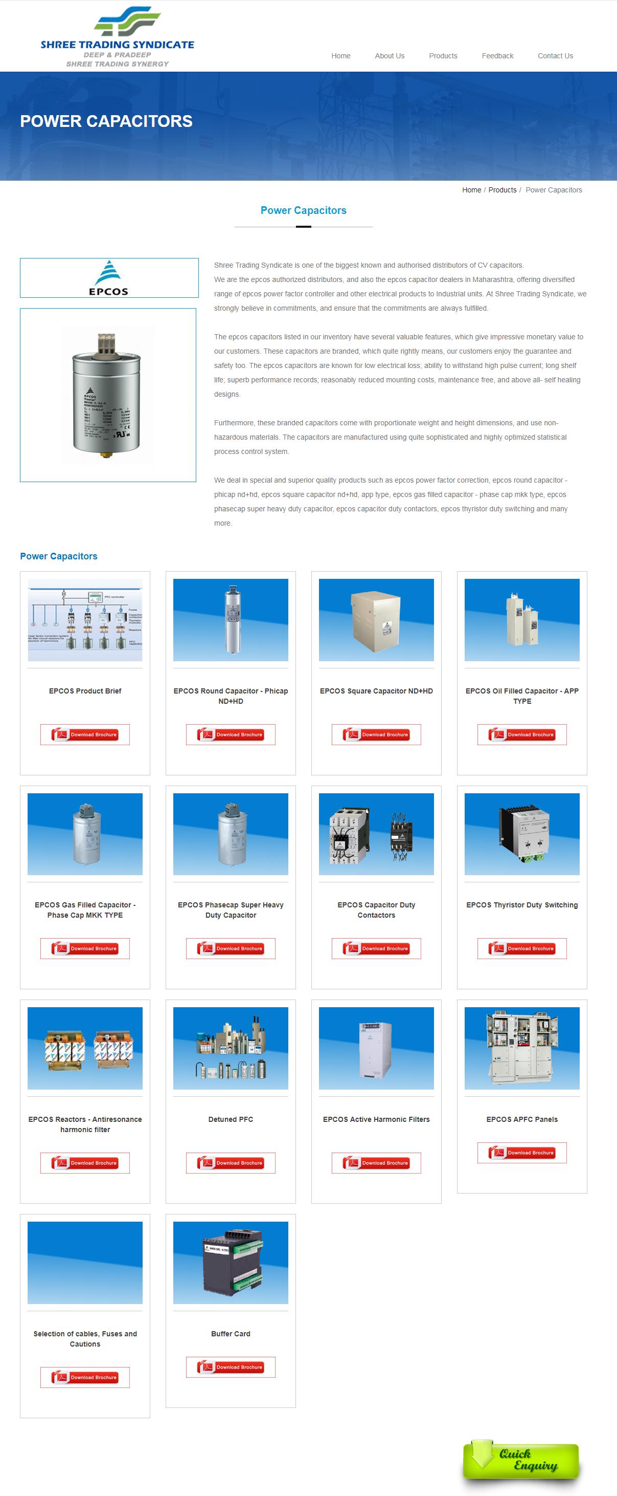 Epcos Power Capacitor Cv Capacitors Distributor Dealer Mumbai India Capacitors Capacitor Process Control