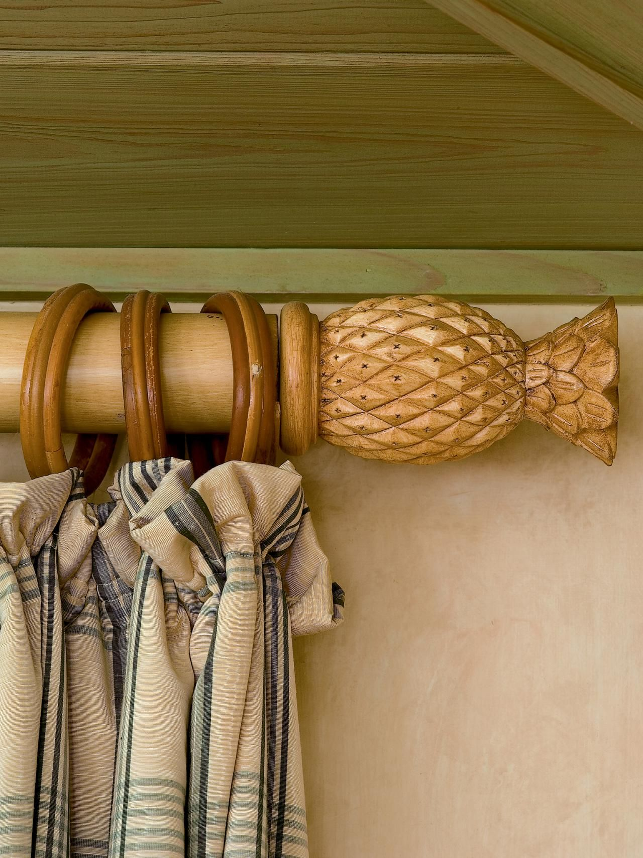 Pineapple Finials Wood Curtain Rods Beach Cottage Decor