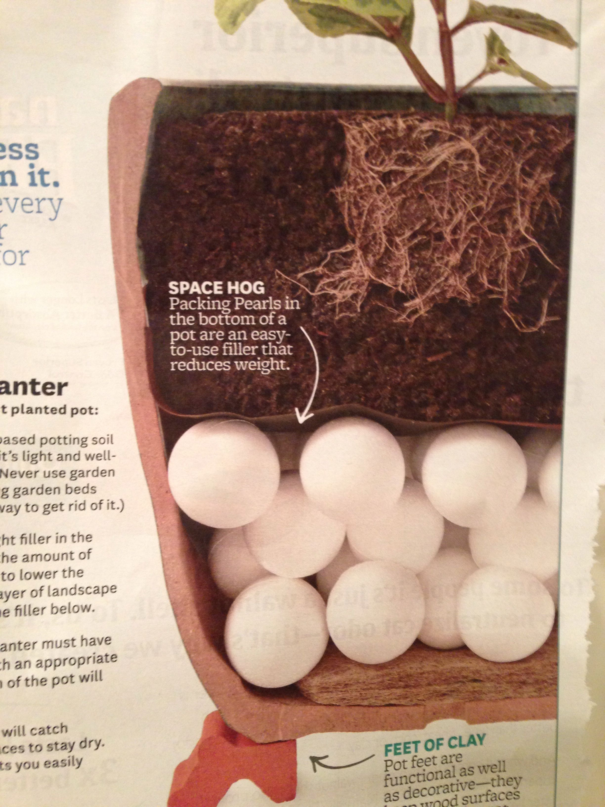 Anatomy of a planter: use a lightweight filler on the bottom