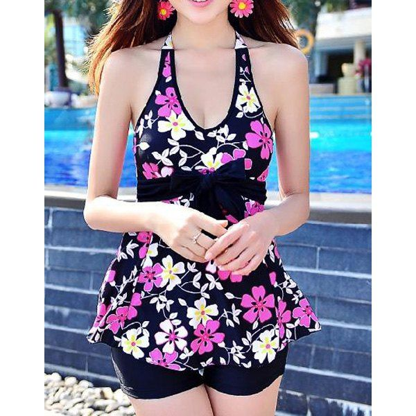 Wholesale Stylish Halter Flower Print Bowknot Two-Piece Swimsuit For Women Only $9.18 Drop Shipping | TrendsGal.com