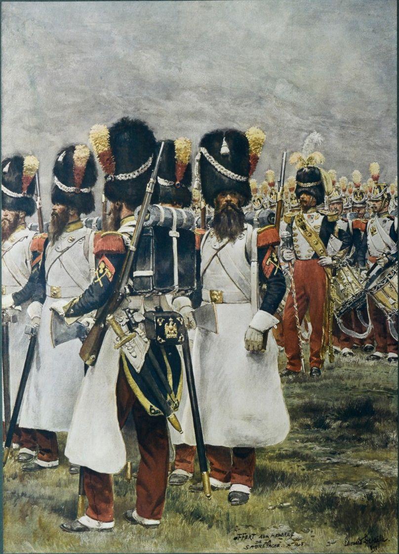 Les Grenadiers De La Garde Du Second Empire Les Sapeurs Au Premier Plan French Army French Empire Honor Guard