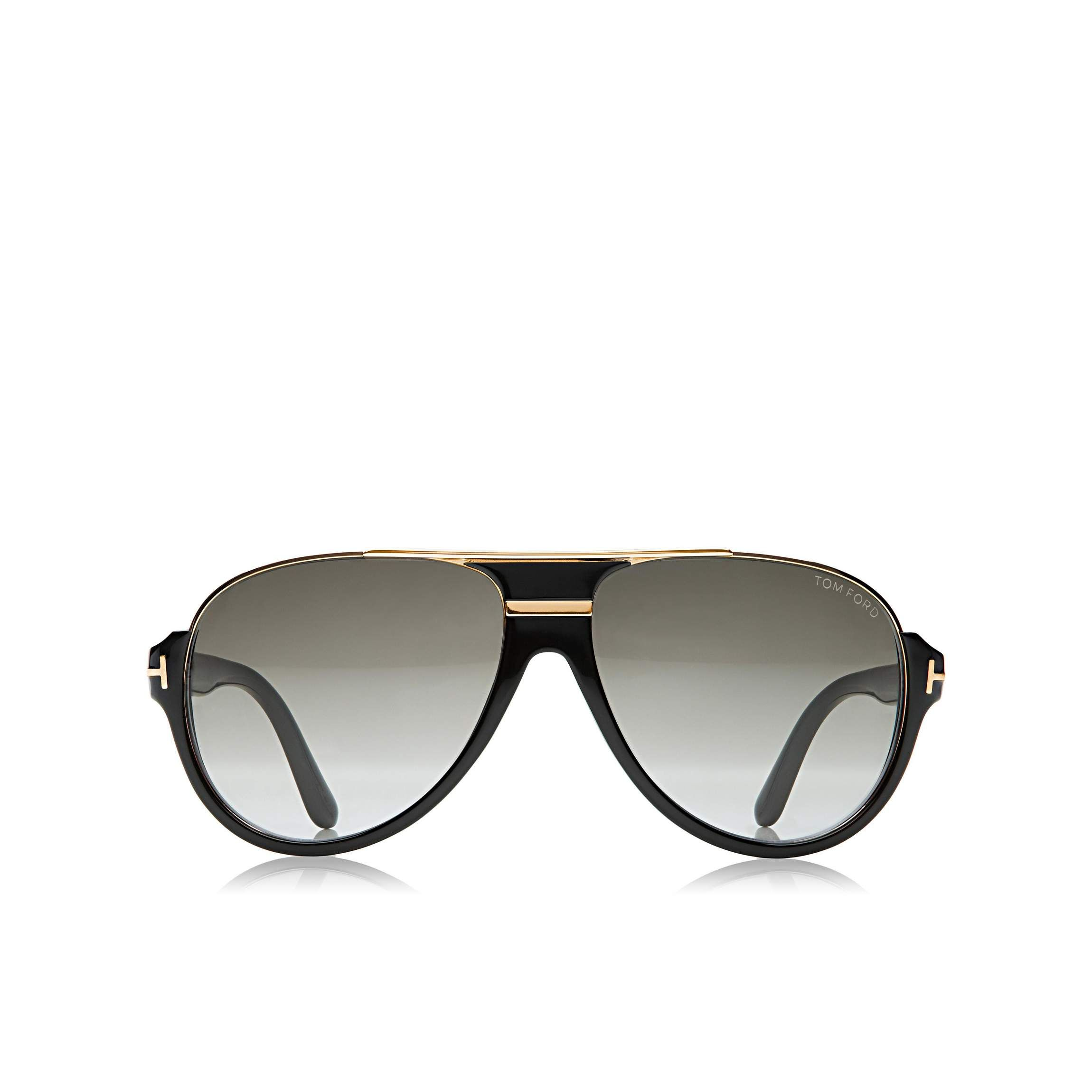 c61e8c842c Vintage acetate aviator sunglasses with shiny metal insert along front top  edge and signature Tom Ford