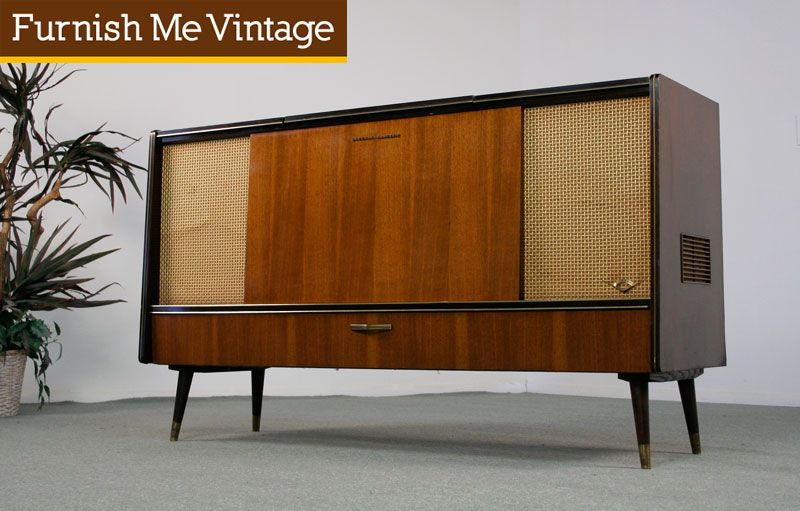 Mid Century Modern Ge Vintage Stereo Console Record Player Changer Am Fm Tuner Bluetooth Vintage Stereo Console Stereo Console Vintage Record Player