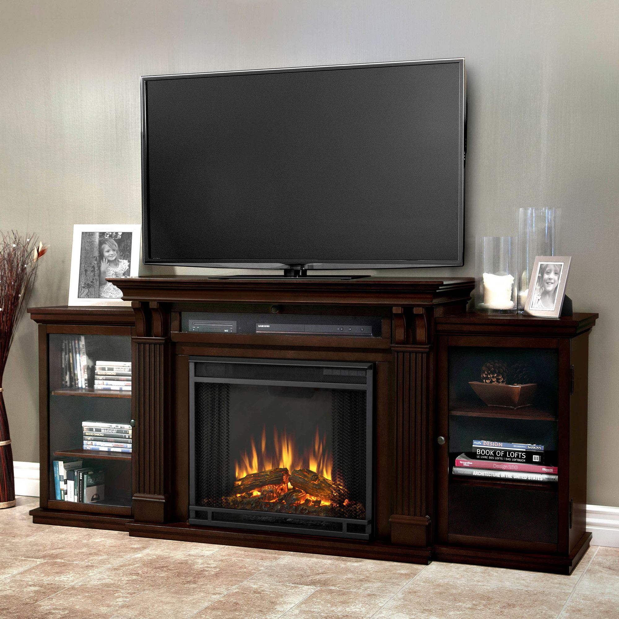 Features 1400 Watt Heater Rated Over 4 700 Btus Per Hour Drop Down Gl Fireplace Entertainment Fireplace Entertainment Center Electric Fireplace Tv Stand
