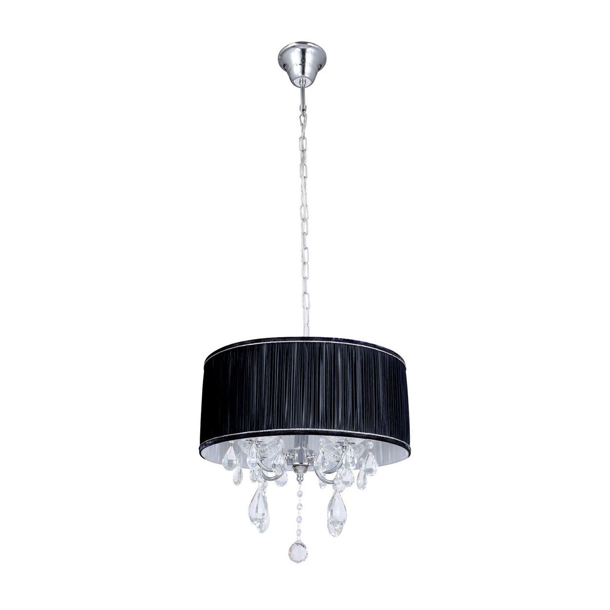 Litecraft L\'amour 4 Light Chandelier in Pleated Shade - Black- at ...