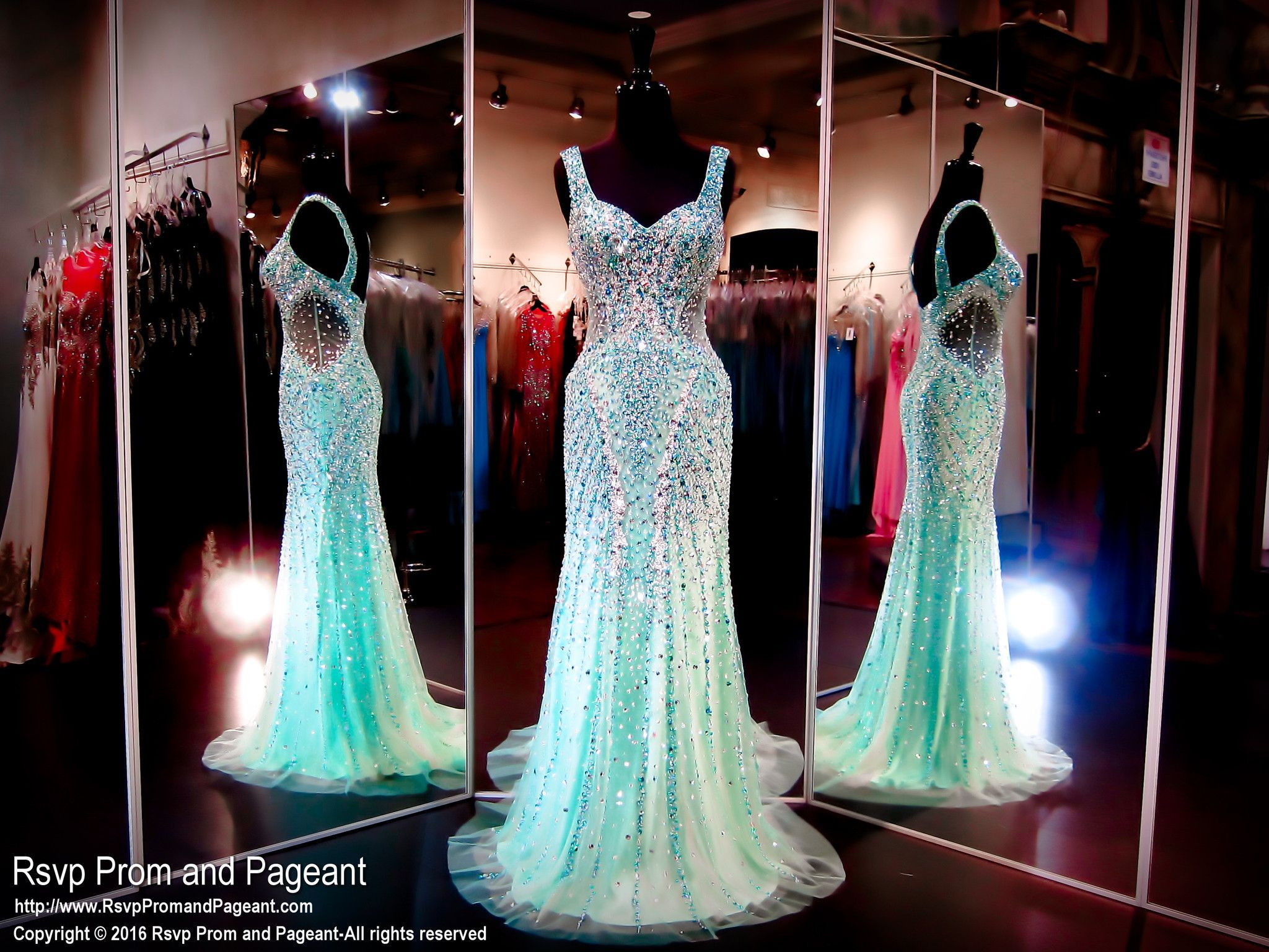 Teal/Nude Mermaid Evening Gown-Sparkling Crystals-Straps ...