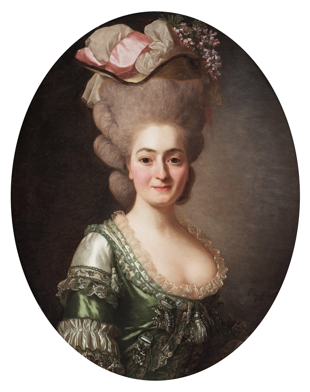 """Damporträtt, kallad """"Markisinnan de Vaxen"""". Signerad le chev: Roslin och daterad 1778. Uppfodrad duk, oval 82,5 x 66 cm."""