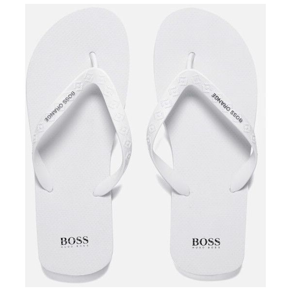 41ccdff9d BOSS Orange Men s Loy Flip Flops - White (185 BRL) ❤ liked on Polyvore
