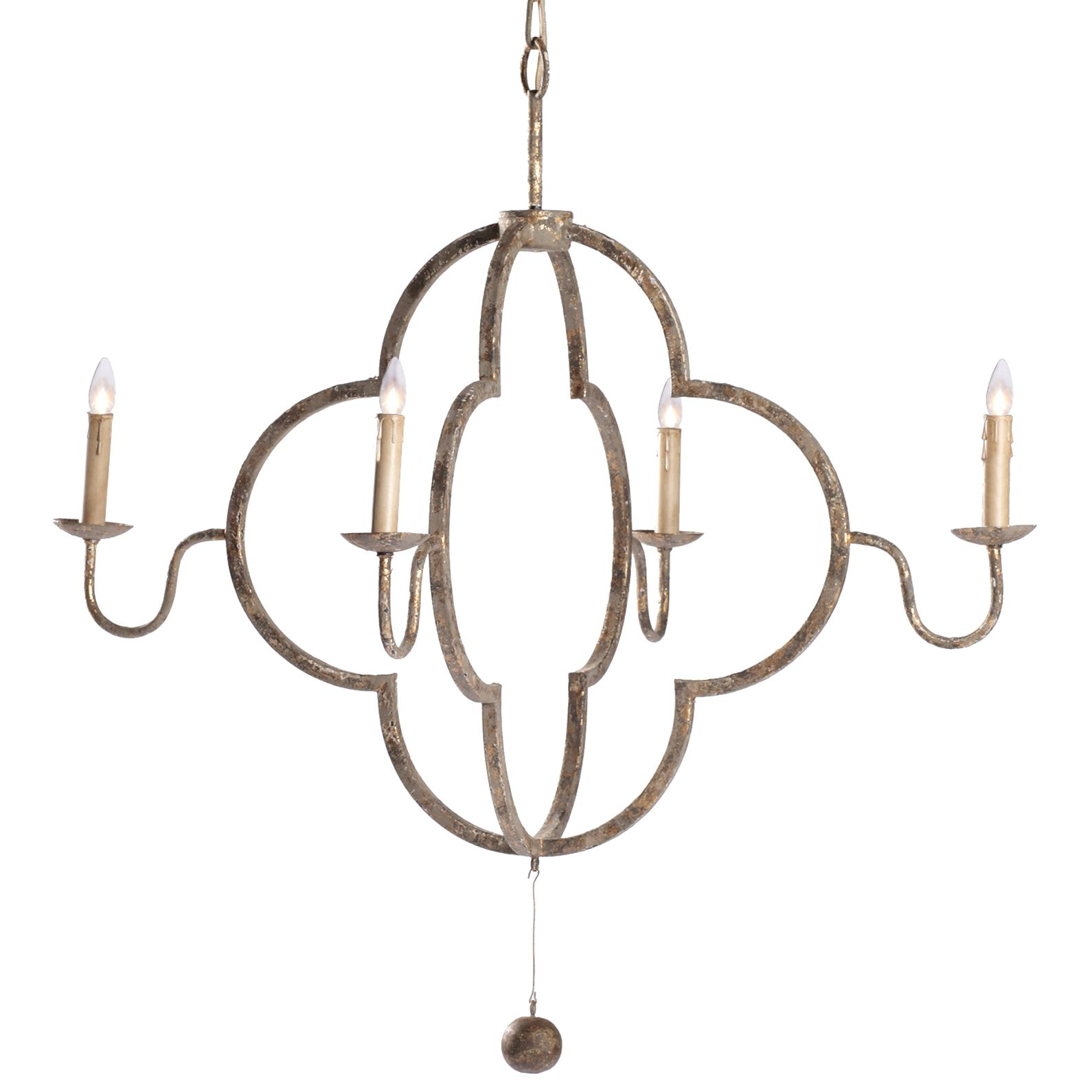 Lewis Quatrefoil French Country Chipped Gold Chandelier | Quatrefoil ...