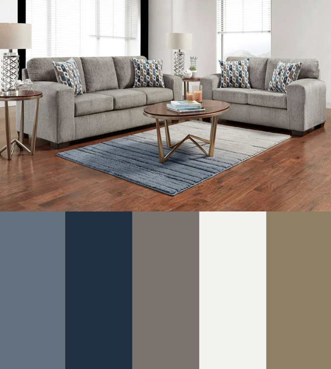 Silverton Pewter Sofa Loveseat Collection Tan Living Room