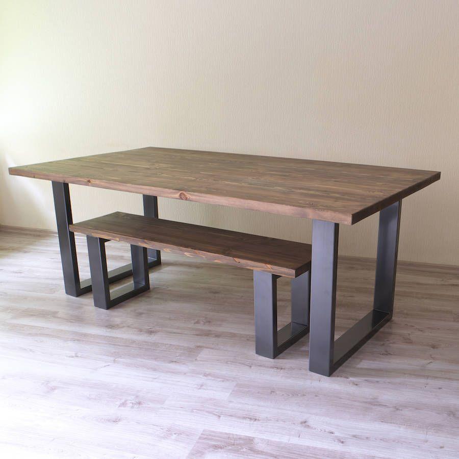 Holborn U Shaped Legs Reclaimed Wood Dining Table Industrial Dining Table Modern Dining Table Industrial Style Dining Table