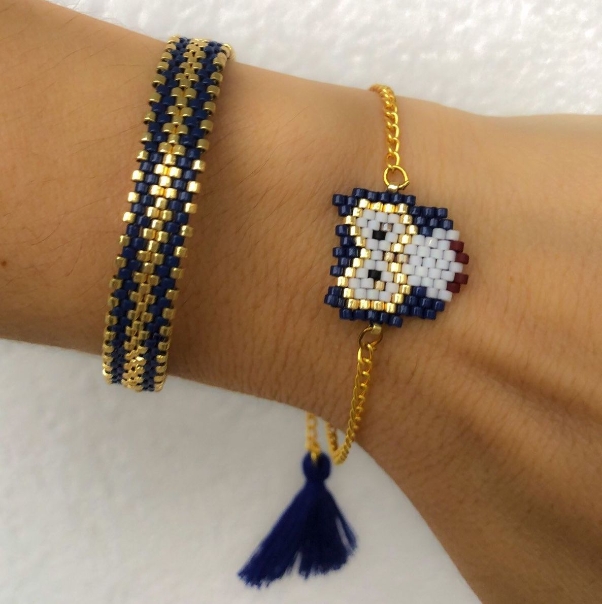 Miyuki beaded blue owl bracelet set, unique, stylish, chic bracelet for women, girls - #beaded #Blue #Bracelet #Chic #for #Girls #Miyuki #Owl #set #Stylish #Unique #Women
