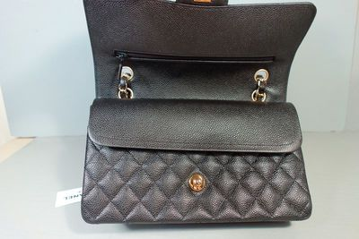 4373dbcebf77 Chanel Black Quilted Caviar Leather Medium Gold Chain Double Flap Bag Purse  · Classic Luxury ·