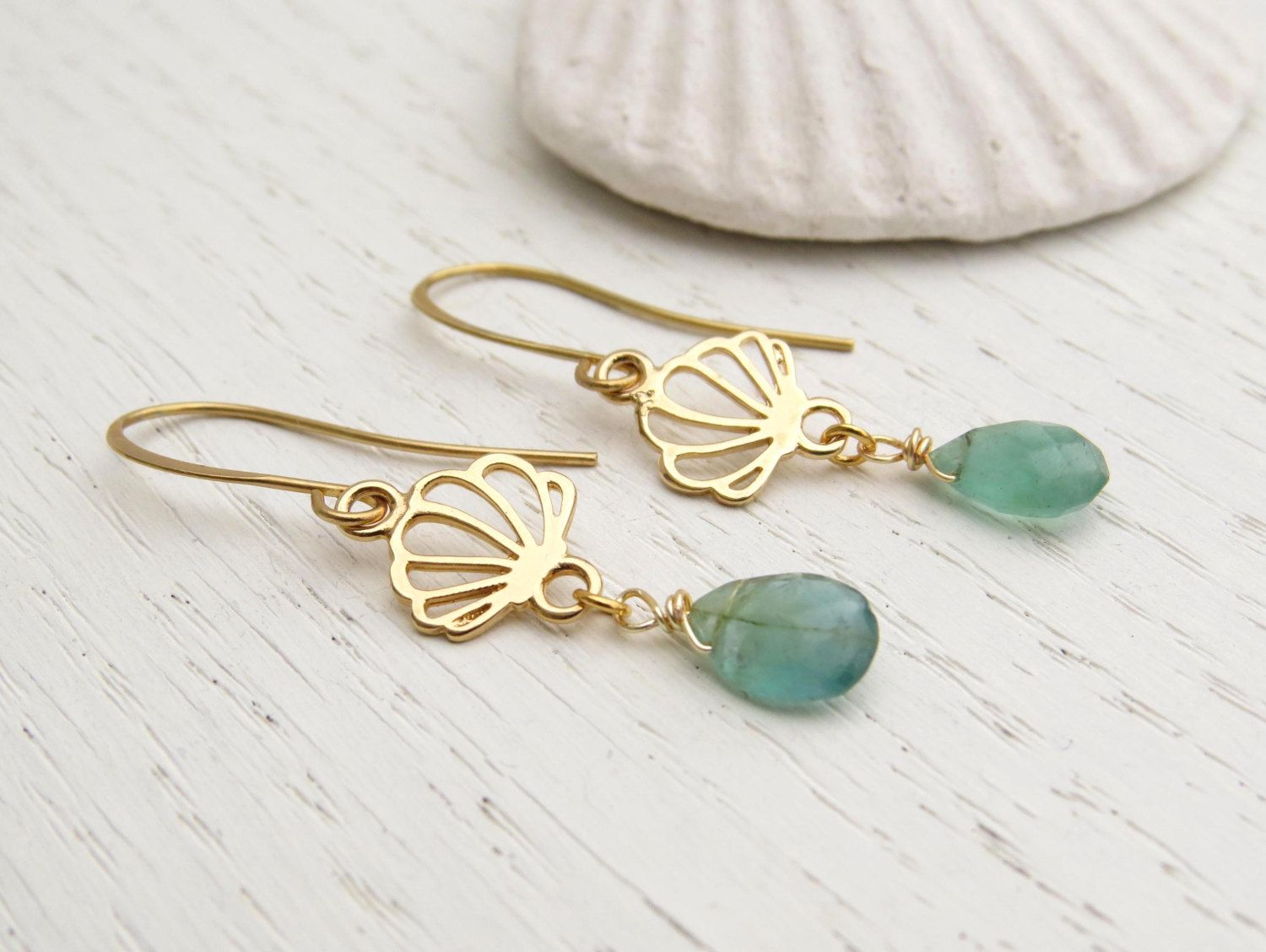 Green apatite earrings Gold seashell earrings Sea inspired jewelry