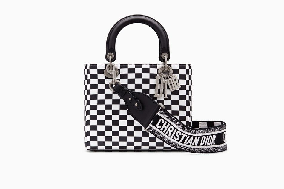 Lady Dior bag in black and white printed calfskin with