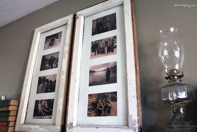 Make old windows into picture frames #DIY #pictureframes #oldwindows