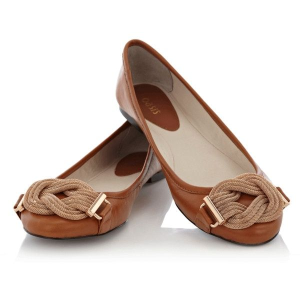 Mesh Knot Leather Ballerina Pump found on Polyvore