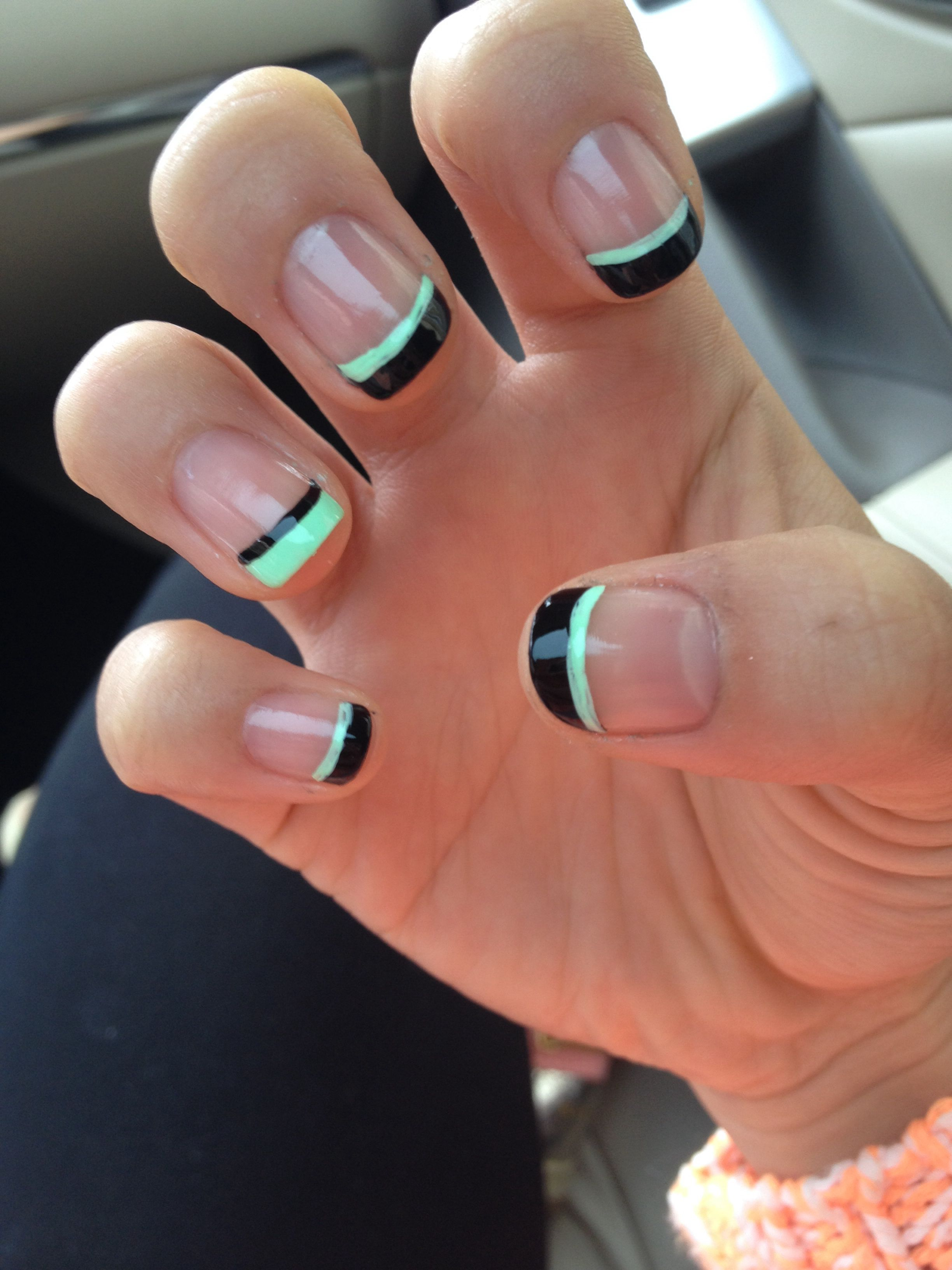 Black tip with a mint green line underneath! | Nails etc | Pinterest ...