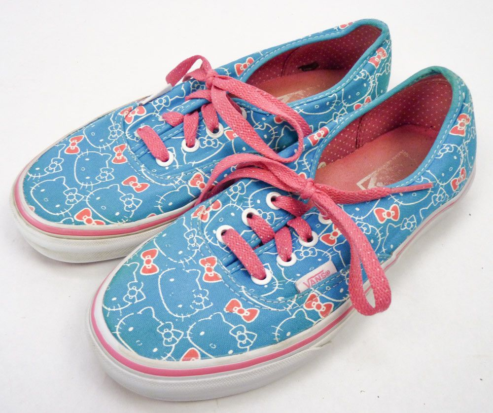22ccaf2fb Hello Kitty Print VANS Canvas Sneakers Shoes Mens 5 Womens 6.5 Off The Wall  Blue #VANS #LaceUps