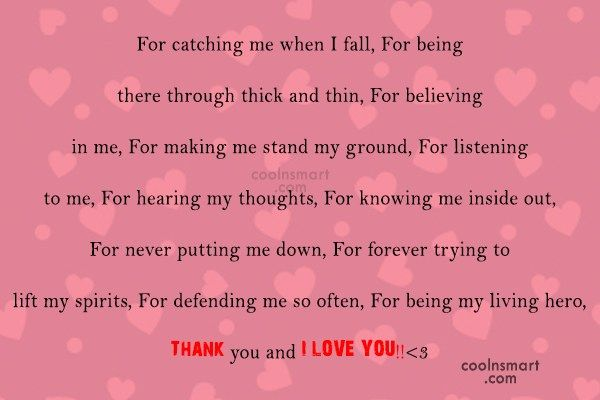 Thank You Quote For Catching Me When I Fall For Thank You