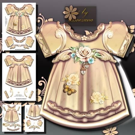 Cream Girl Dress on Craftsuprint designed by Atlic Snezana - Cream Girl Dress: 4 sheets for print with decoupage for 3D effect plus one sentiment tag (for your own personal text) - Now available for download!