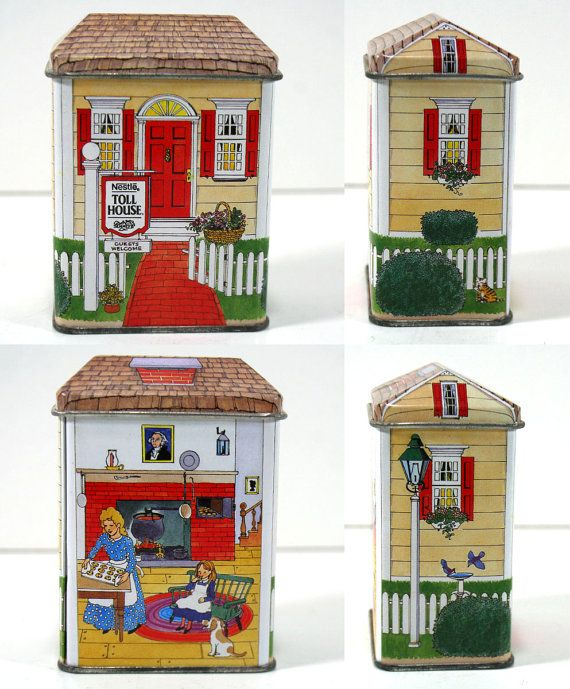 Very pretty vintage illustrated metal tin. Its designed like a little yellow house with a red door and red shutters. A sign in front of the house