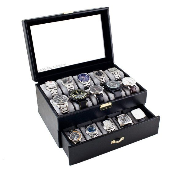 c14d41aa8 Personalized Black Watch Box - Holds 20 Watches, Watch Case, Watch  Organizer, Watch Storage, Engrave