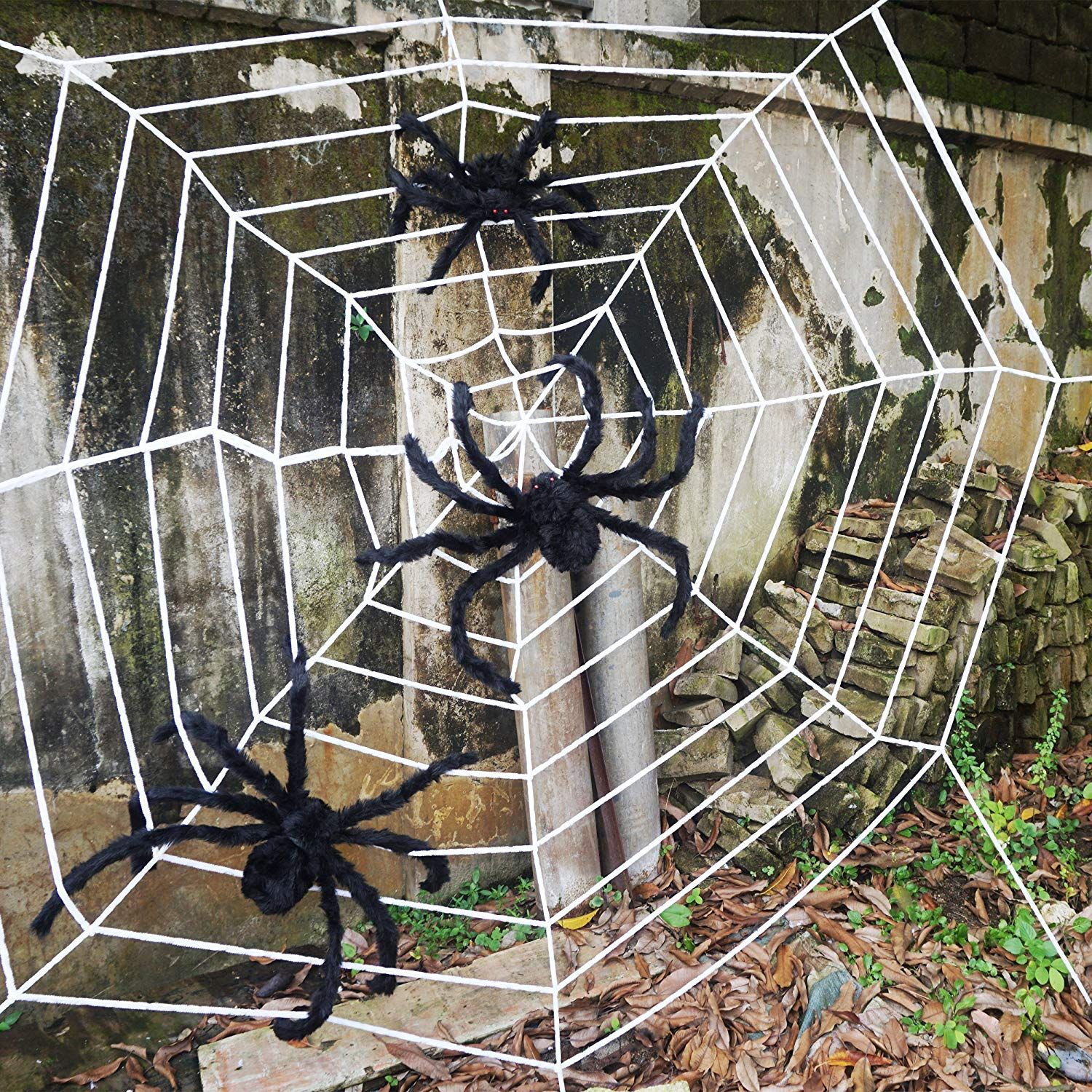 Giant Spiders And Web Fun Halloween Decor Halloween Spider Halloween Spider Decorations