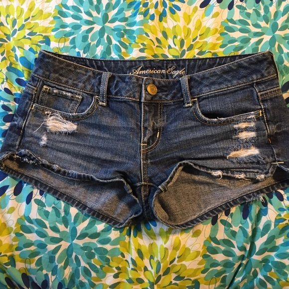 Distressed shorts American Eagle distressed shortie shorts American Eagle Outfitters Shorts Jean Shorts