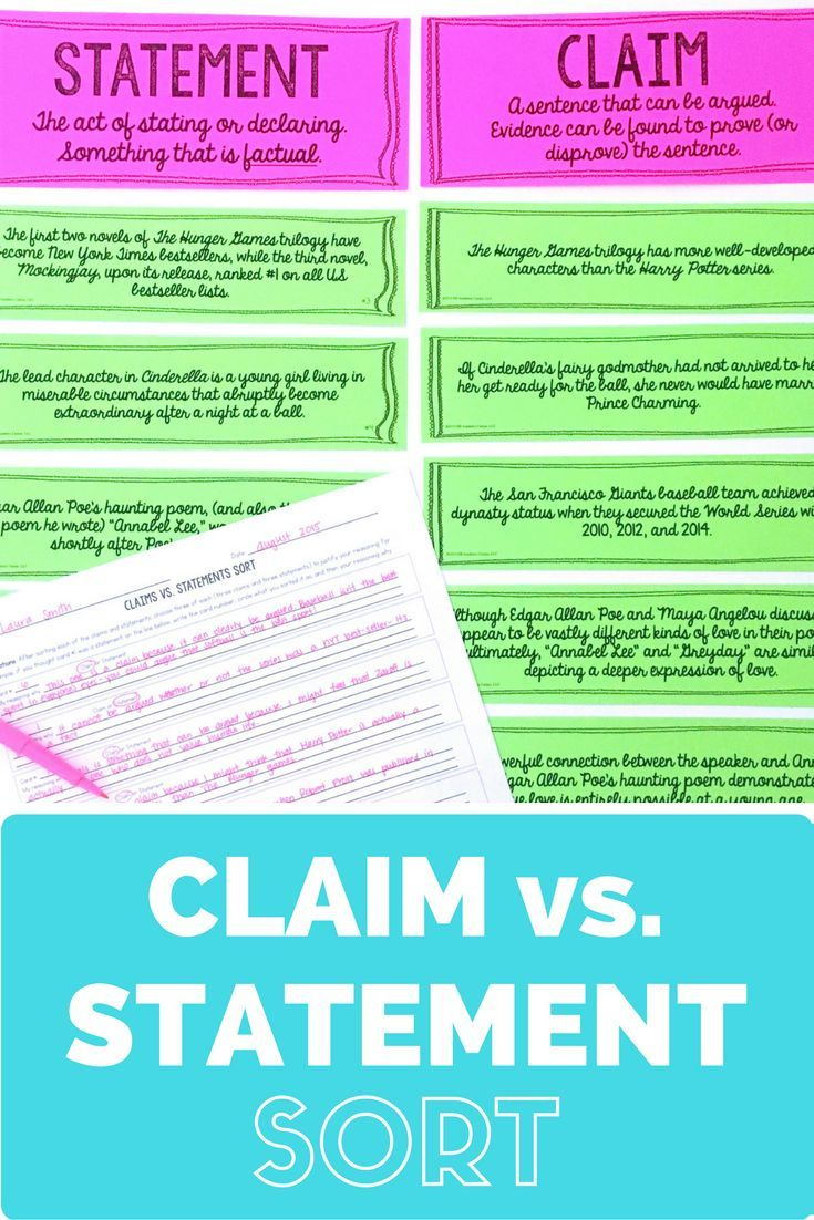 claims vs statements sort activity for middle school high this claims vs statements sorting activity is such a fun and challenging way to help
