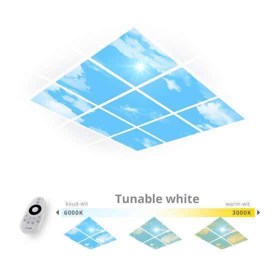 een daglicht wolken plafond van 9 panelen met tunable white led verlichting haal je het