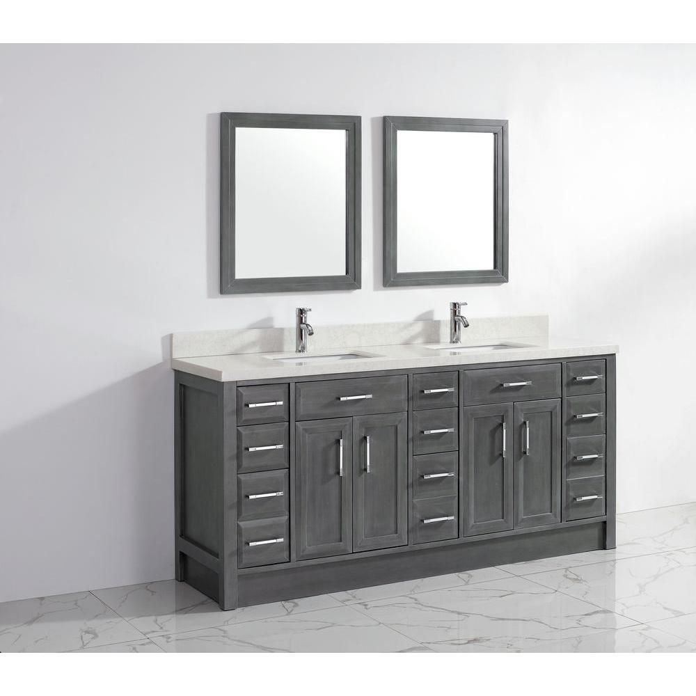 Spa Bathe Cora 75 In Pepper Gray Undermount Double Sink Bathroom Vanity With White And Grey Veins Engineered Stone Top Lowes Com Bathroom Sink Vanity Double Sink Bathroom Vanity Double Sink Bathroom